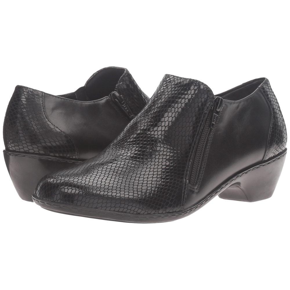 ウォーキング クレードル レディース シューズ・靴 ヒール【Cadence】Black Leather/Black Patent Snake Print