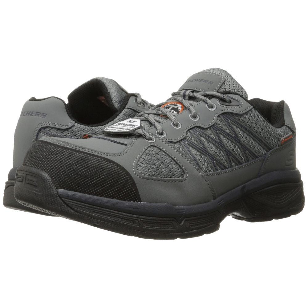 スケッチャーズ SKECHERS Work メンズ シューズ?靴 スニーカー【Conroe - Searcy】Gray Leather/Mesh/Black Trim