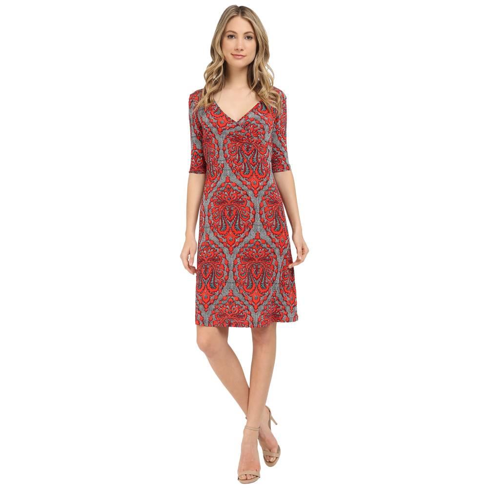 アッパー品質 クリスティンマイケルズ レディース ワンピース・ドレス ワンピース【Tea Length 3/4 Sleeve Wrap Dress】Coral Print