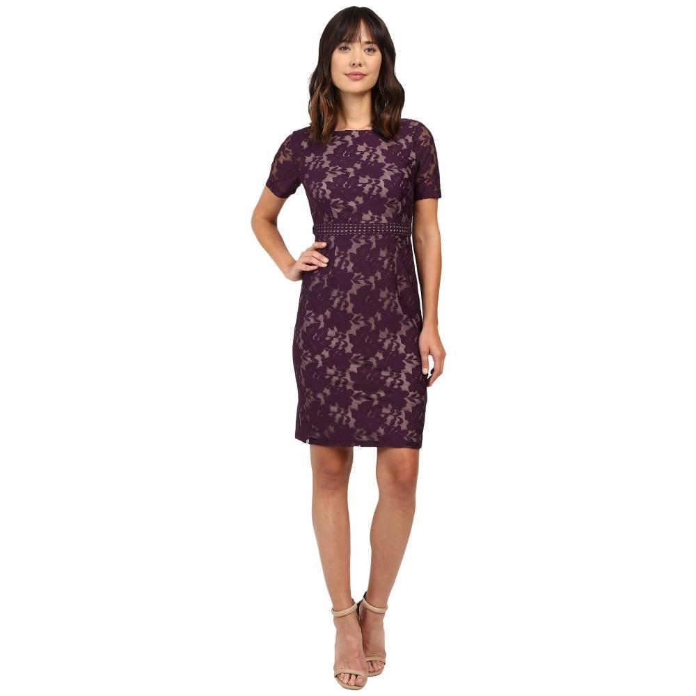 アドリアナ パペル レディース ワンピース・ドレス ワンピース【Short Sleeve Lace Sheath Dress】Plum/Wine/Tan