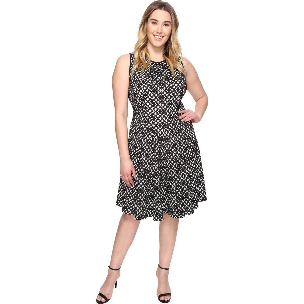 カルバンクライン レディース ワンピース・ドレス ワンピース【Plus Size Laser Cut Flare Dress】Black