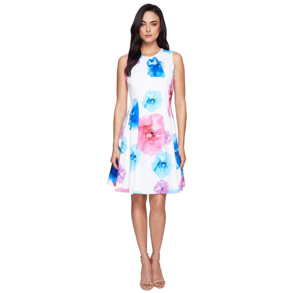 カルバンクライン レディース ワンピース・ドレス ワンピース【Floral Fit & Flare Dress CD7M5V3Q】Blue Multi