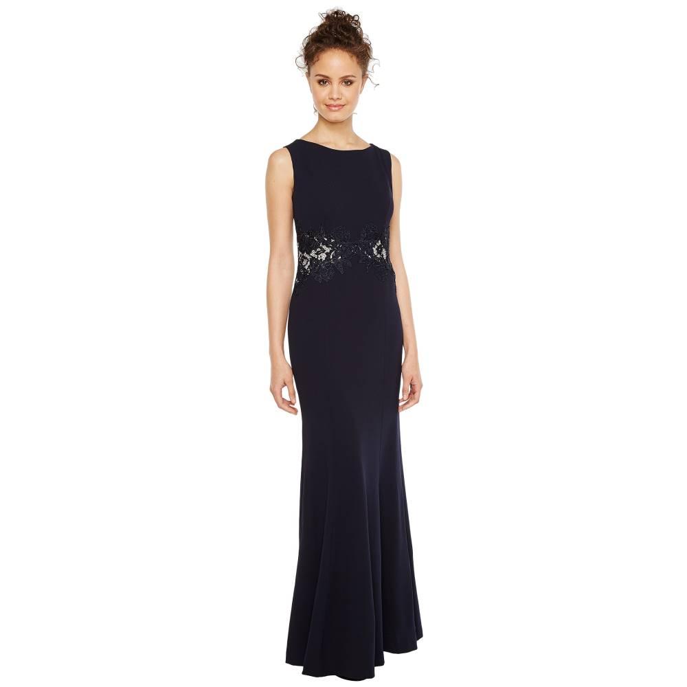 サングリア レディース ワンピース・ドレス パーティードレス【Solid Crepe Evening Gown with Lace and Illusion Waist Detail】Navy