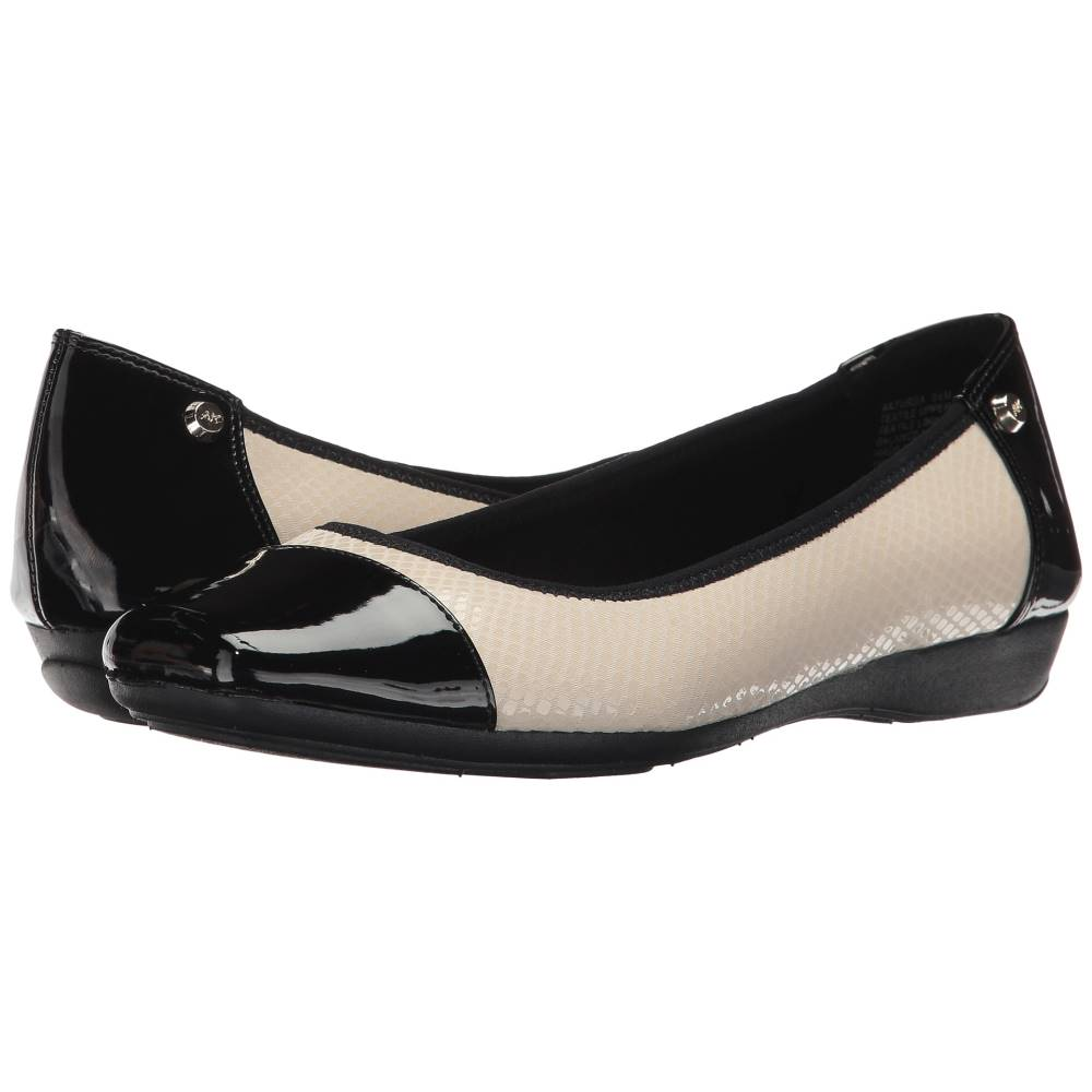 アン クライン レディース シューズ・靴 スリッポン・フラット【Ursa】Ivory/Black Fabric