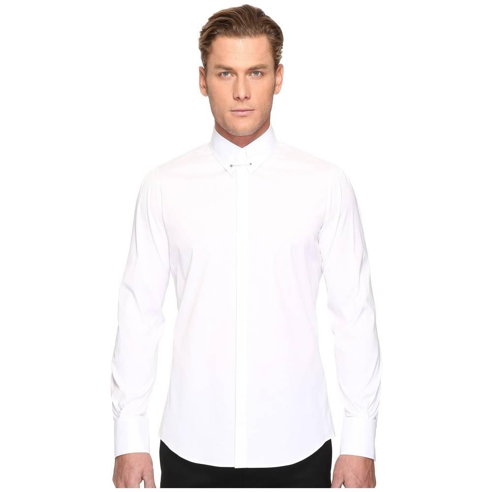 ディースクエアード メンズ トップス シャツ【Pin Collar Stretch Poplin Button Up】White