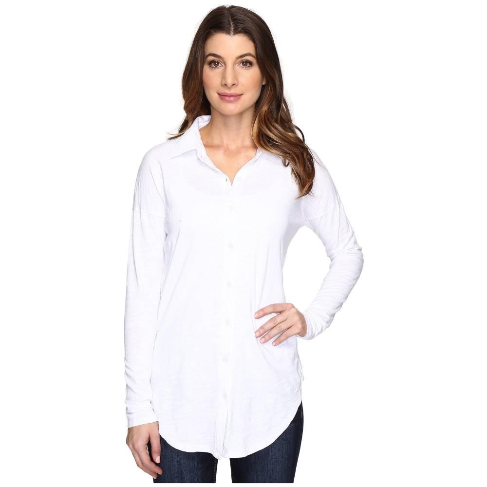モドオードック レディース トップス ブラウス・シャツ【Slub Jersey Drop Shoulder Side Button Shirt】White