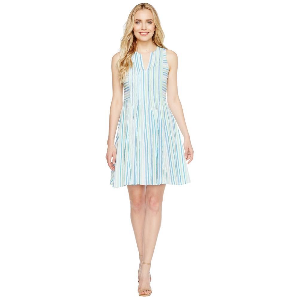 シーシー レディース ワンピース・ドレス ワンピース【Sleeveless Stripe Crinkle Gauze Pintuck Dress】Aqua Dream