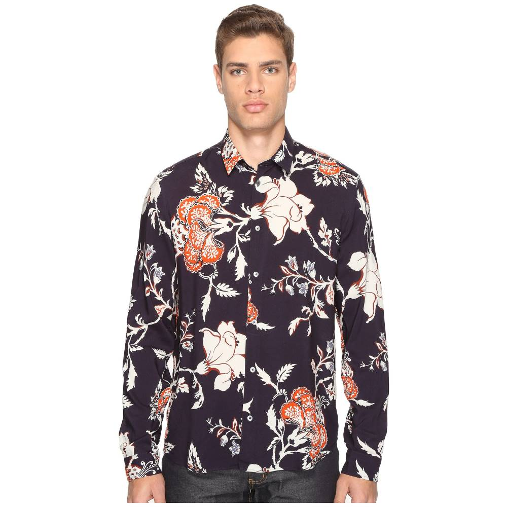 マックイーン メンズ トップス シャツ【Sheehan Floral Button Up】Vivid Navy