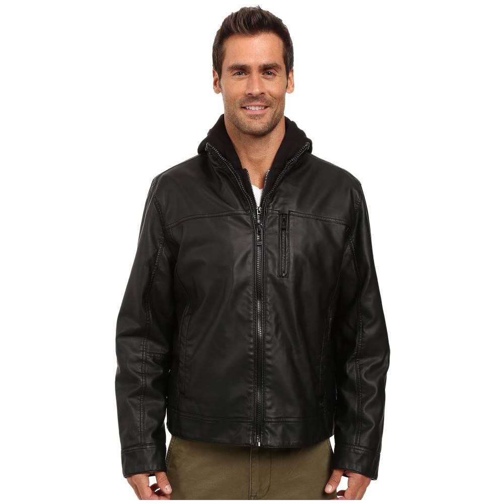 カルバンクライン メンズ アウター ジャケット【Faux Leather Hoodie Jacket】Black 1