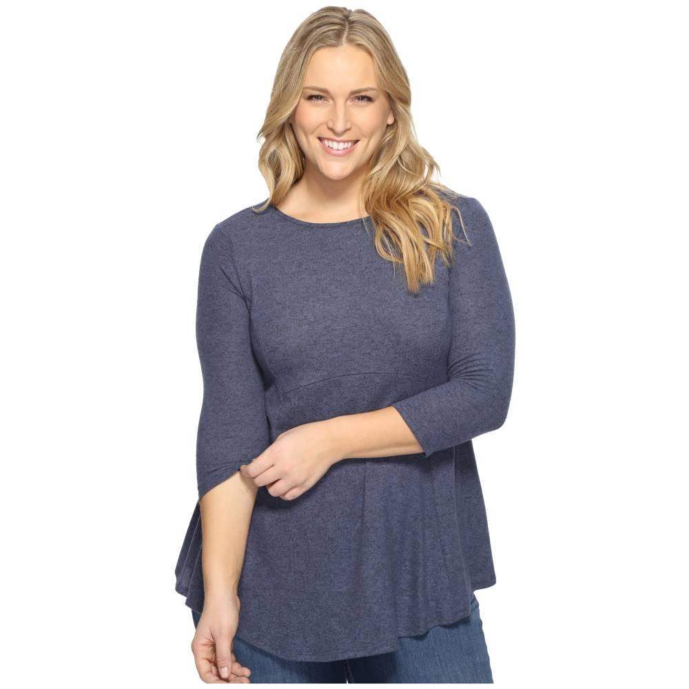 ボボウ レディース トップス Tシャツ【Plus Size Brushed Babydoll Hemline Knit】Stone Blue
