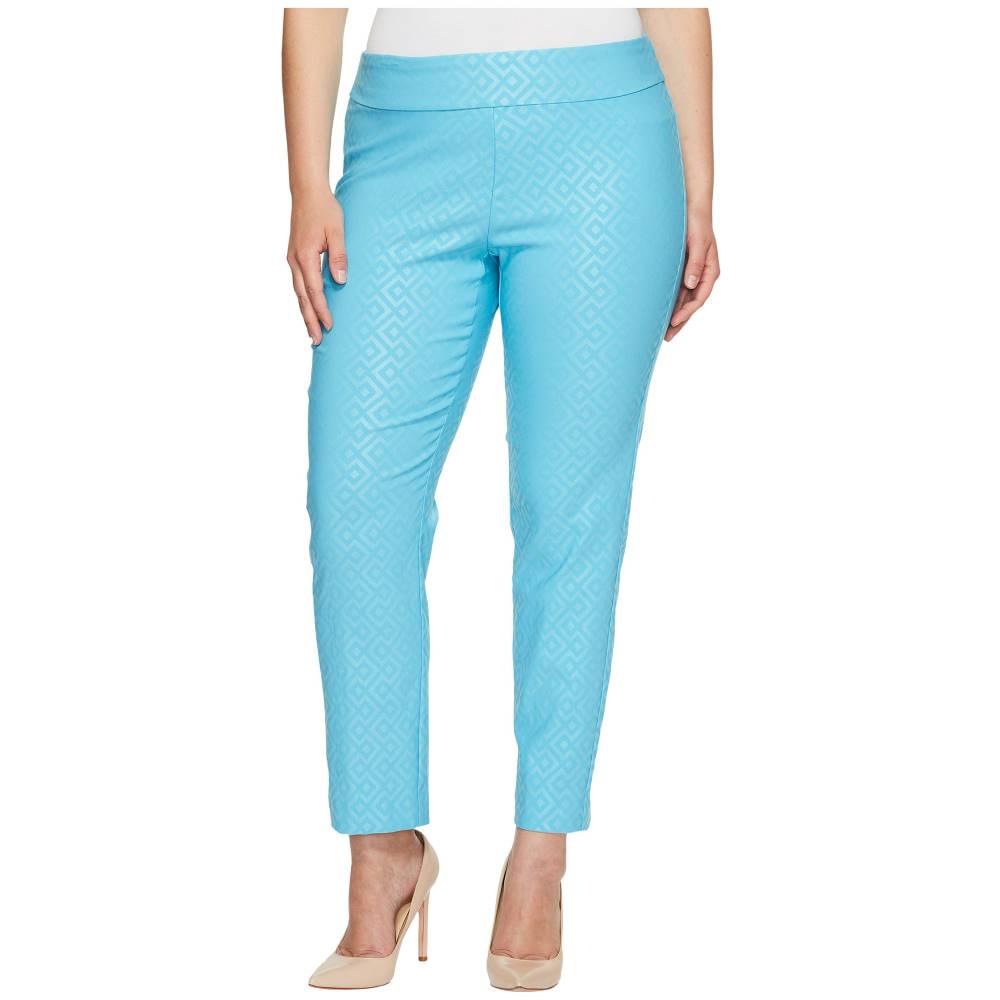 100%品質保証 クレイジーラリー レディース ボトムス・パンツ【Plus Size Pull-On Ankle Pants】Turquoise Geometric Print