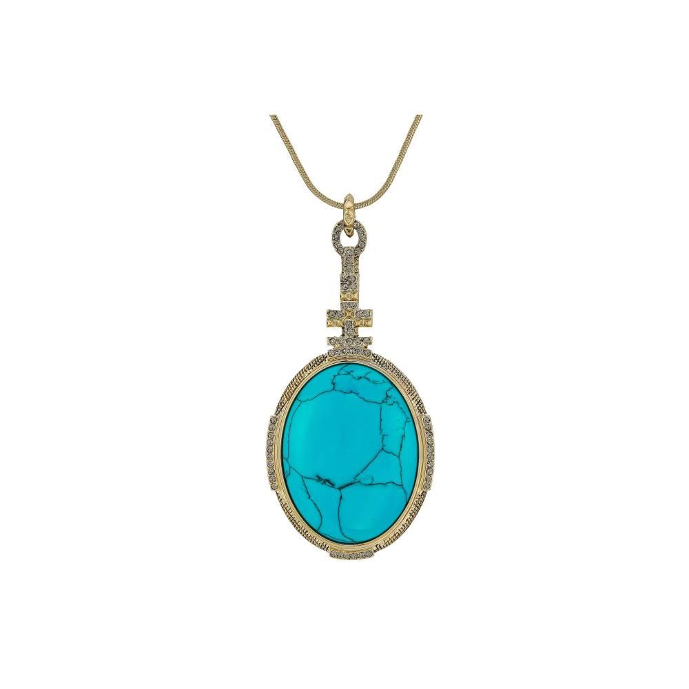 ハウスオブハーロウ1960 レディース ジュエリー・アクセサリー ネックレス【Tanta Crosshatch Pendant Necklace】Gold/Blue