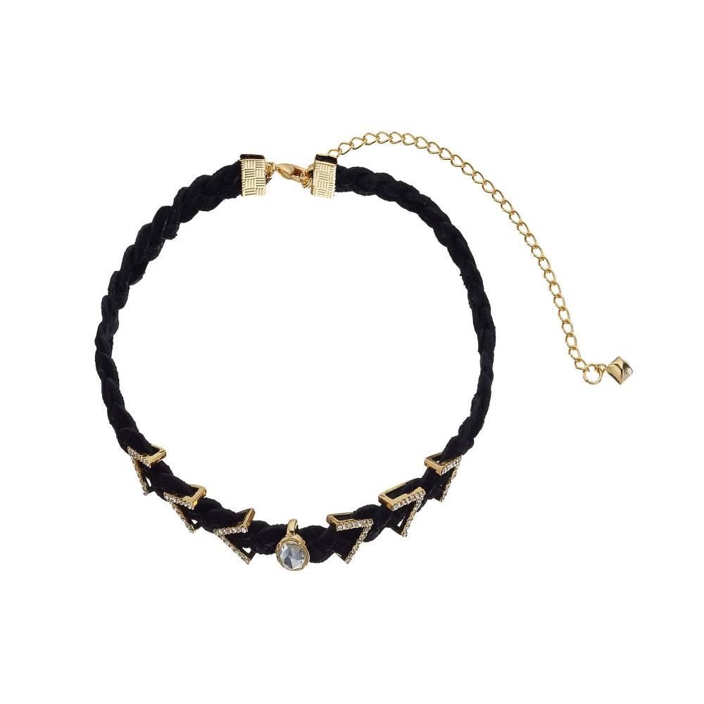 レベッカ ミンコフ レディース ジュエリー・アクセサリー ネックレス【Arrows and Stone Charms on Braided Leather Choker Necklace】Gold/Crystal