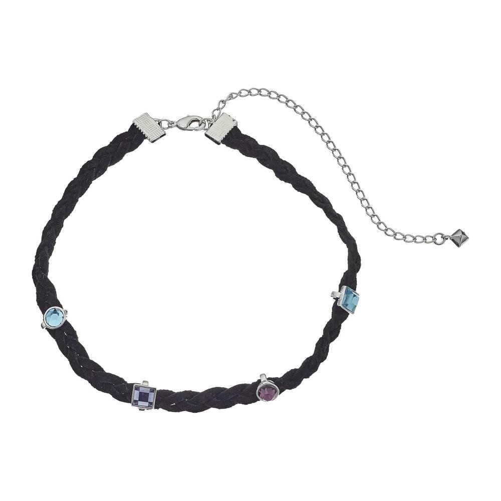 レベッカ ミンコフ レディース ジュエリー・アクセサリー ネックレス【Multi Stone Charms on Braided Leather Choker Necklace】Silver/Blue Multi
