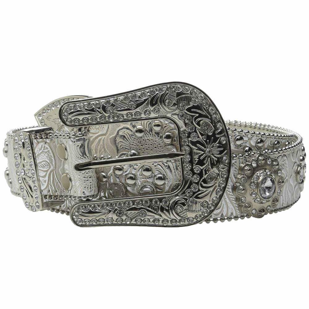 エムアンドエフ ウエスタン レディース ファッション小物 ベルト【Floral Crystal Concho Belt】Silver