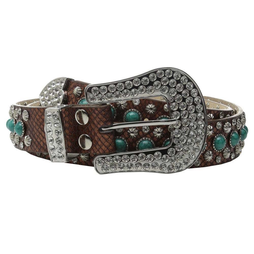 エムアンドエフ ウエスタン レディース ファッション小物 ベルト【Turquoise Stone Snake Belt】Brown