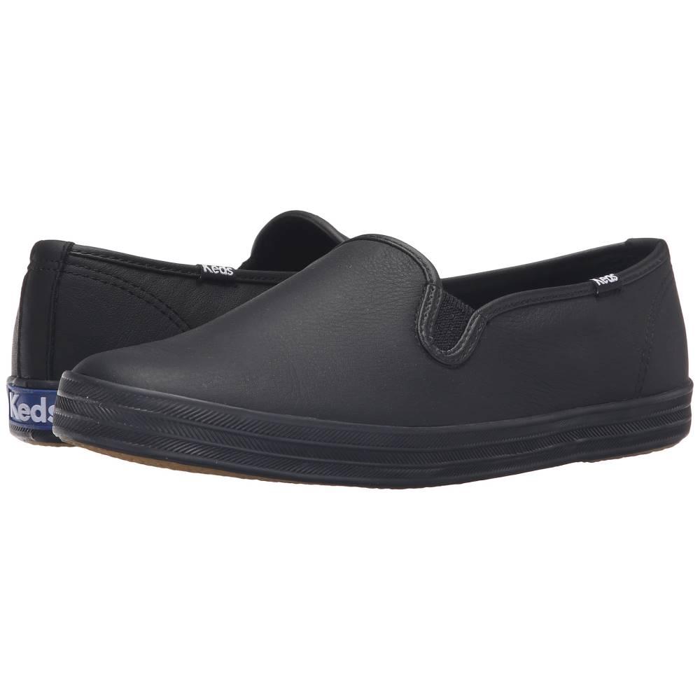ケッズ レディース シューズ・靴 スリッポン・フラット【Champion-Leather Slip-On】Black/Black