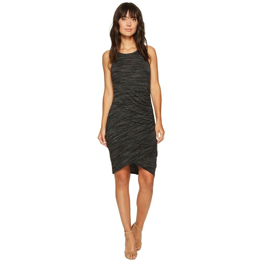 モドオードック レディース ワンピース・ドレス ワンピース【Space Dye Rayon Spandex Jersey Asymmetrical Shirred Tank Dress】Black Heather