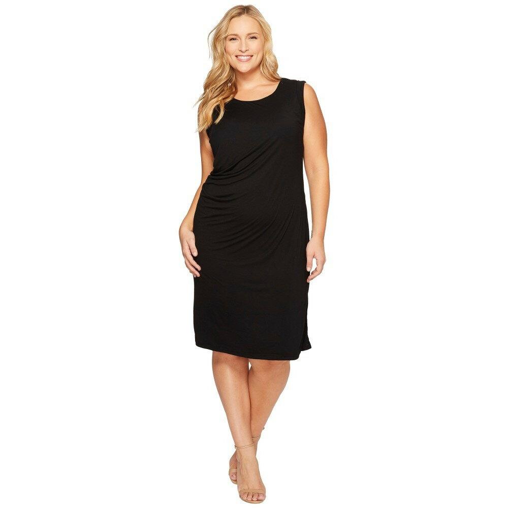 ボボウ レディース ワンピース・ドレス ワンピース【Plus Size Julia Side Drape Knit Dress】Black