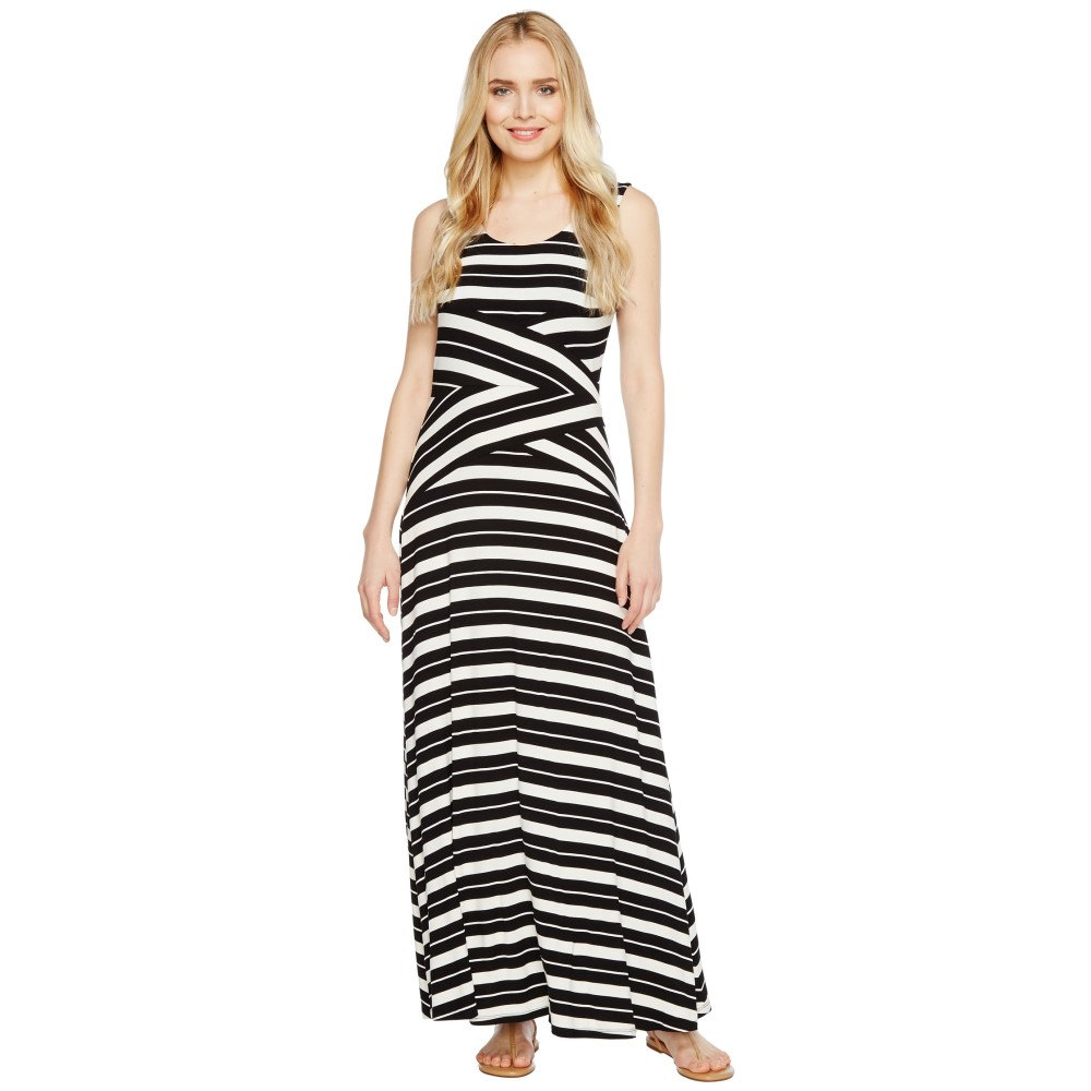 カルバンクライン レディース ワンピース・ドレス ワンピース【Striped Crisscross Maxi Dress】Black/White