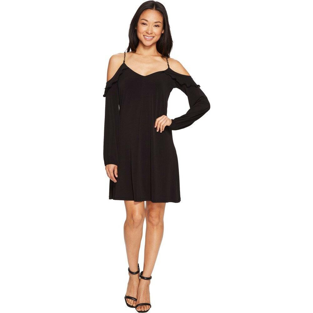 マイケル コース レディース ワンピース・ドレス ワンピース【Cold Shoulder Chainstrap Dress】Black