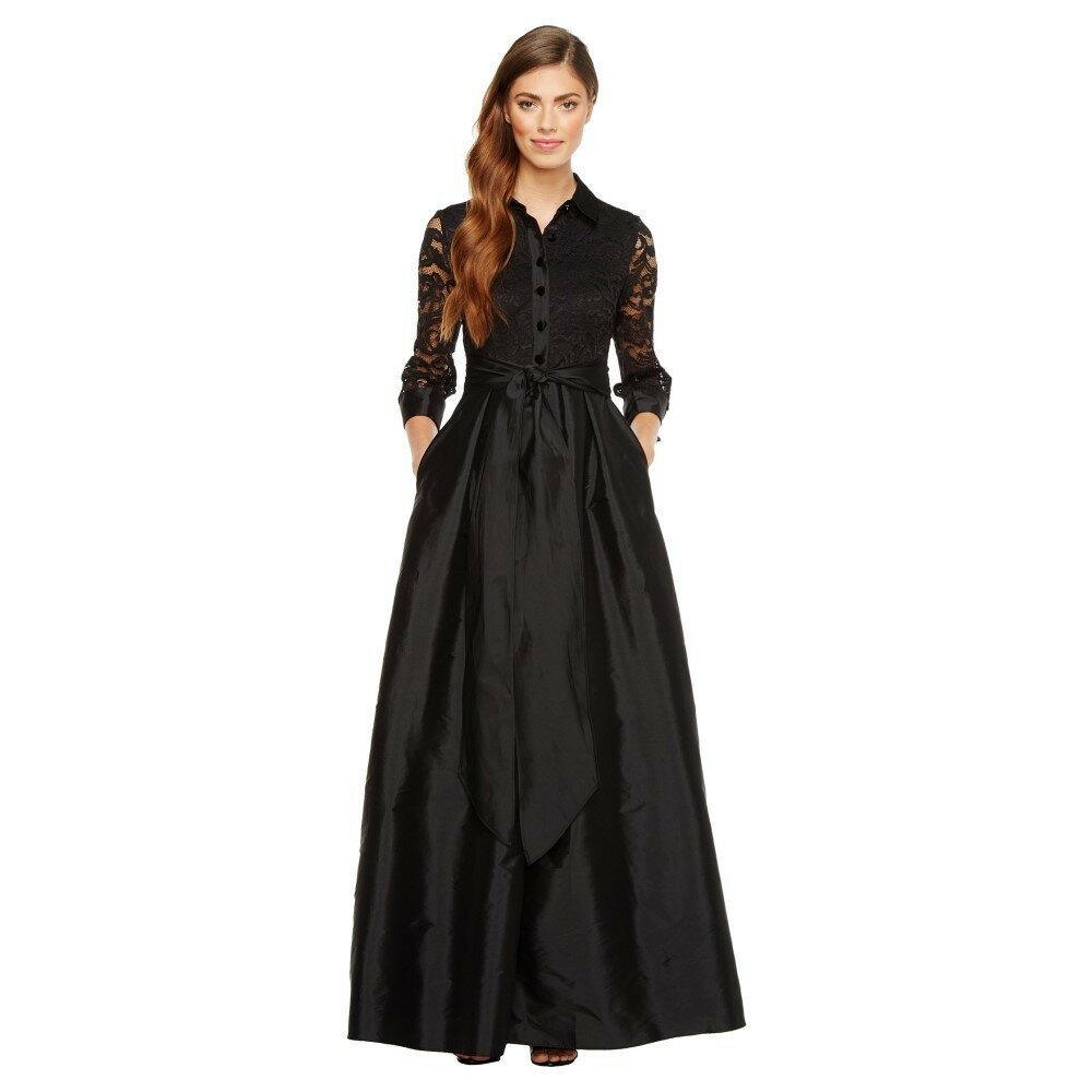 アドリアナ パペル レディース ワンピース・ドレス パーティードレス【Silky Taffeta and Lace Gown】Black