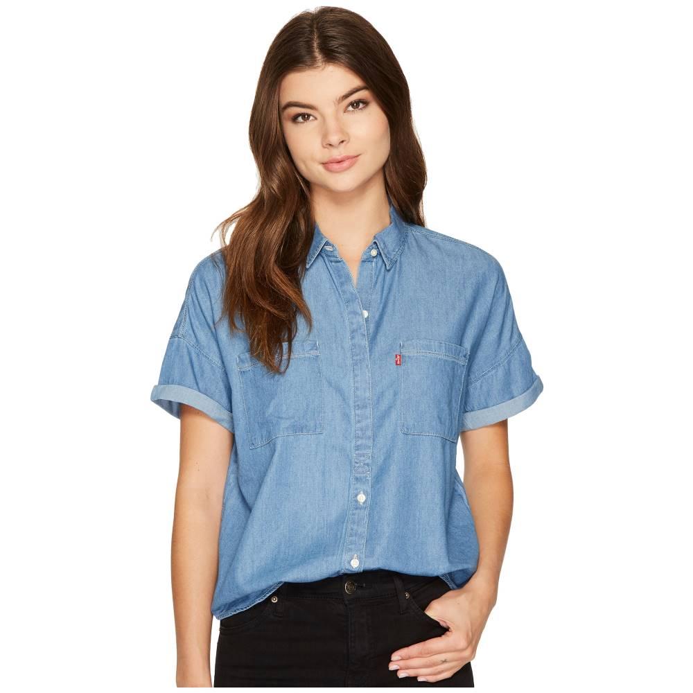 リーバイス レディース トップス ブラウス・シャツ【Short Sleeve Holly Shirt】Dark Mid Wash