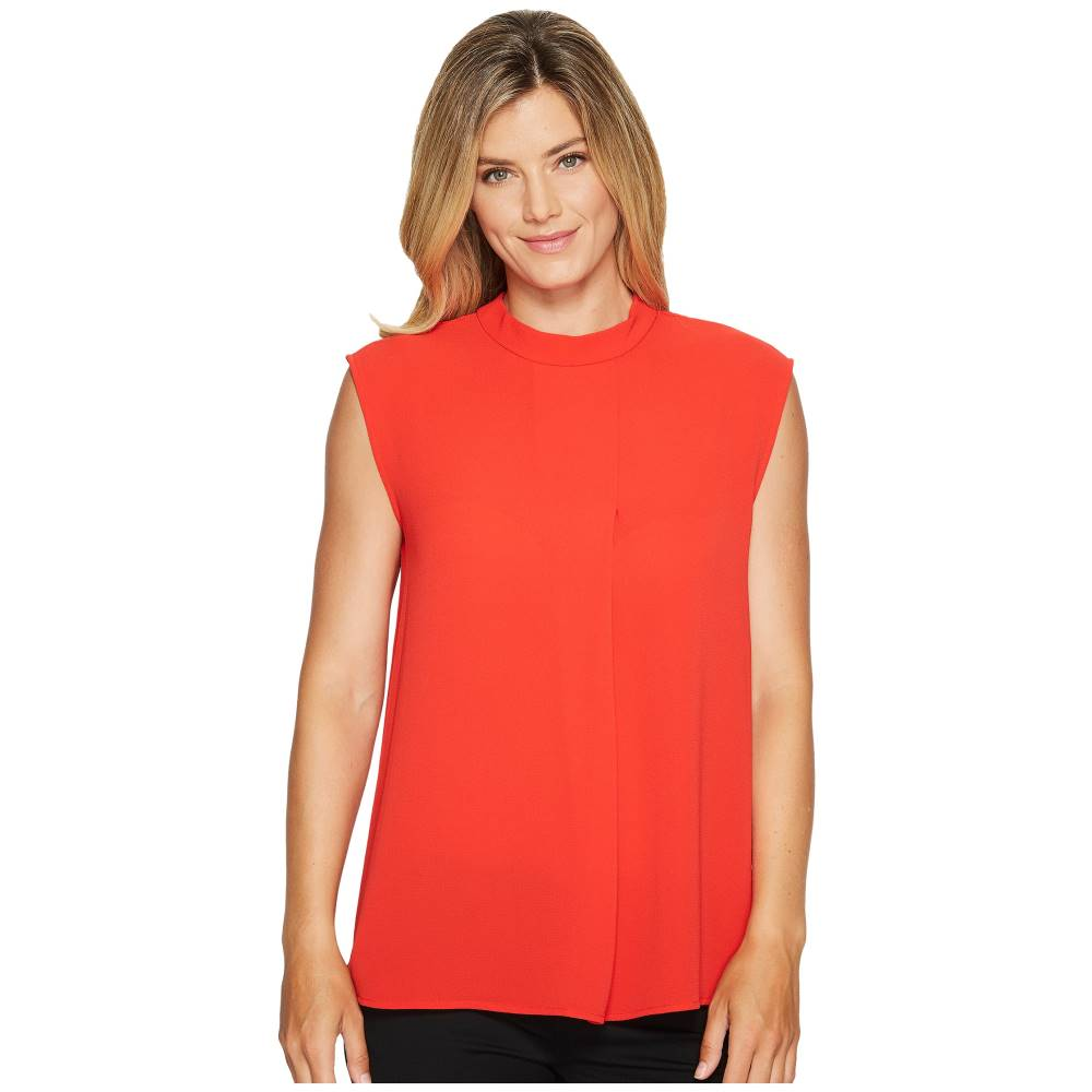 ヴィンス カムート レディース トップス【Sleeveless Mock Neck Blouse w/ Front Fold】Bright Crimson