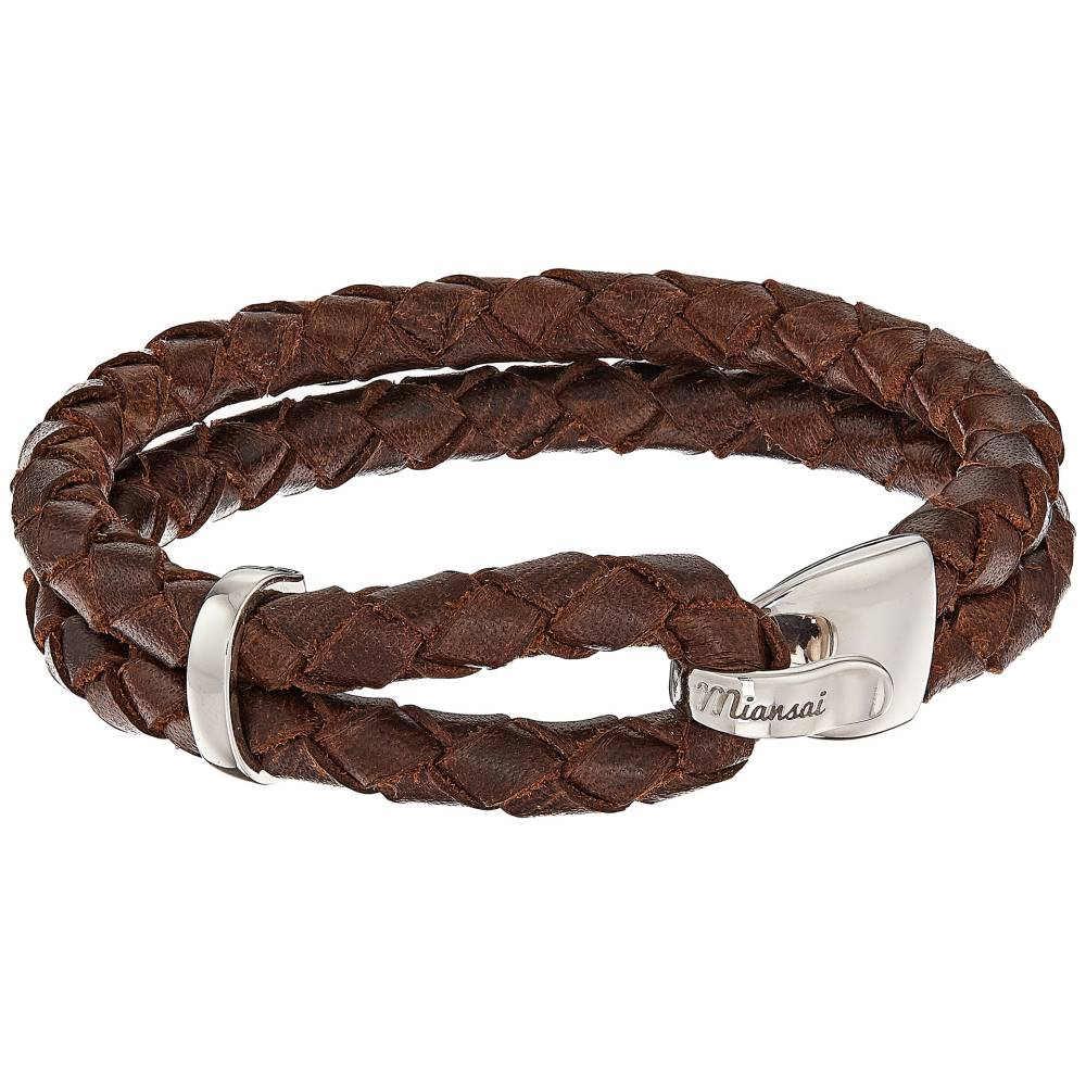 ミアンサイ メンズ ジュエリー・アクセサリー ブレスレット【Beacon Leather Bracelet】Brown/Sterling Silver