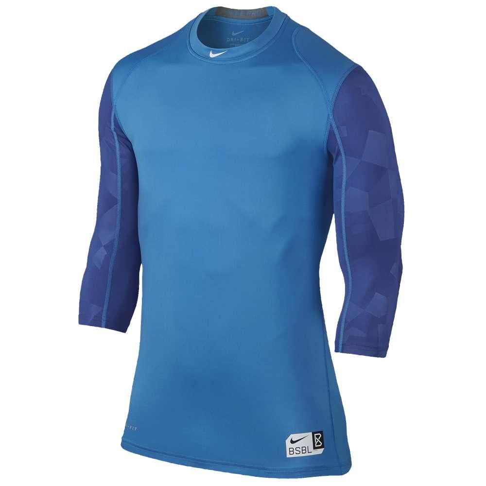 ナイキ メンズ 野球 トップス【Nike Pro Cool Graphic 3/4 Sleeve Shirt】Light Photo Blue/Game Royal/White
