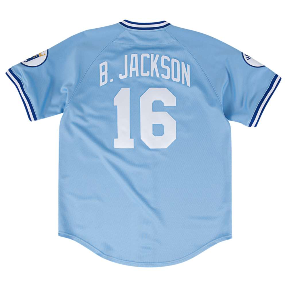 ミッチェル&ネス メンズ トップス Tシャツ【Mitchell & Ness MLB Authenitc Collection Jersey】Light Blue