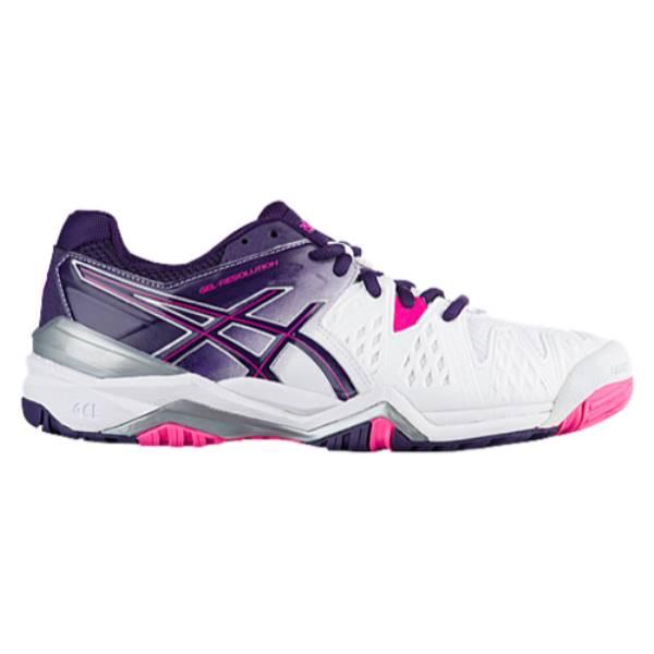 アシックス レディース テニス シューズ・靴【ASICS GEL-Resolution 6】White/Parachute Purple/Hot Pink