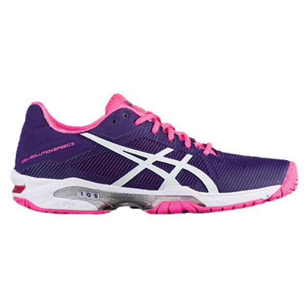 アシックス レディース テニス シューズ・靴【ASICS Tiger GEL-Solution Speed 3】Parachute Purple/White/Hot Pink