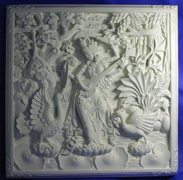 【壁掛けインテリア】石彫り調FRPレリーフパネル~サラスワティ
