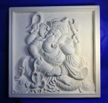 【壁掛けインテリア】石彫り調FRPレリーフパネル~ガネーシャ