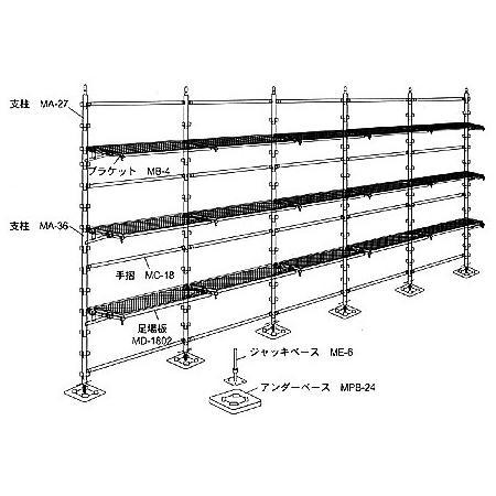 改定中 光洋機械産業 3層5スパン400幅鋼製足場モノシステムセット [代引不可商品]
