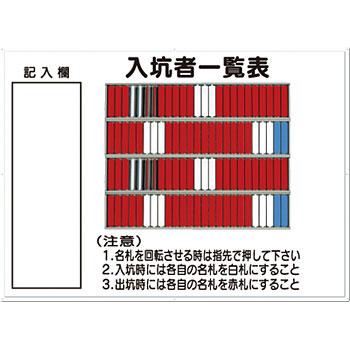 安全標識 80-C 『入坑者一覧表』 名札掛 100人用名札掛付 800×1100mm カラー鋼板 [代引不可商品]