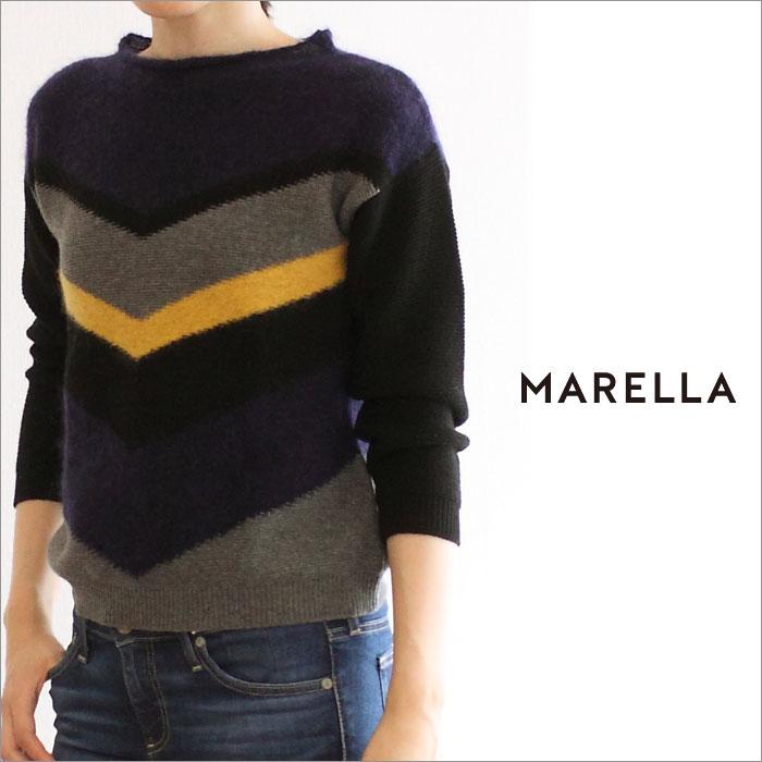 【MARELLA-マレーラ】ミックスヤーンのボートネックニット【285-33660776】