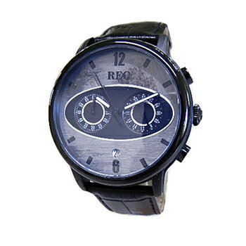 REC WATCHES レックウォッチ MK1/M3 クロノグラフ Made from a Recycled Vintage Mini グレー文字盤 黒革ベルト クオーツ メンズ【国内正規品】