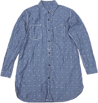 D.M.G[ドミンゴDMG]/16-701E/ワークシャツワンピース[ジャガードシャンブレー][ドットシャンブレー]