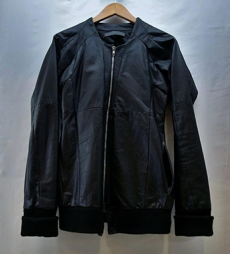 EKAM (エカム) ノーカラー レザージャケット サイズ:S  カラー:ブラック【中古】【DM】【鈴鹿 併売品】【1250390OS】