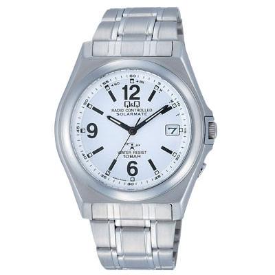 腕時計 メンズ シチズン Q&Q 電波時計 あかり発電 メンズウォッチ ホワイト CITIZEN HG08-204