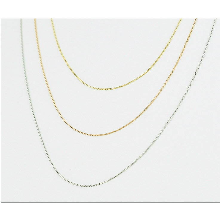 K18イエローゴールド ホワイトゴールド ピンクゴールド ベネチアンチェーン 40cm ネックレス 【新品】【送料無料】