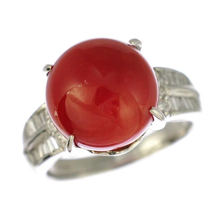プラチナ900 リング 珊瑚 ダイヤモンド 18.5号 【美品】【中古】【送料無料】