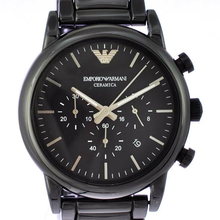 エンポリオアルマーニ メンズ腕時計 セラミカ クロノグラフ AR1507 EMPORIO ARMANI 文字盤黒 セラミック クオーツ 【中古】【送料無料】【美品】