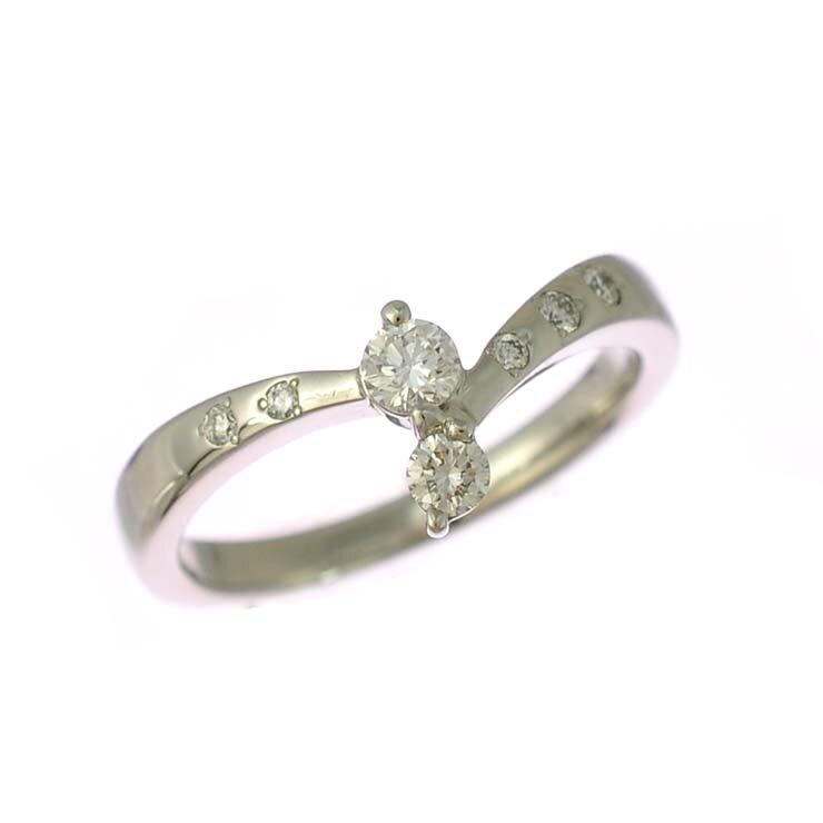 リング プラチナ900 ダイヤモンド V字 ツーストーン 指輪 Pt900 サイズ:12.5号 ジュエリー レディース 【中古】【送料無料】【美品】