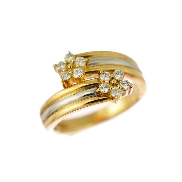 K18イエローゴールド プラチナ900 リング ダイヤモンド 10.5号 花 コンビカラー 【美品】【中古】【送料無料】