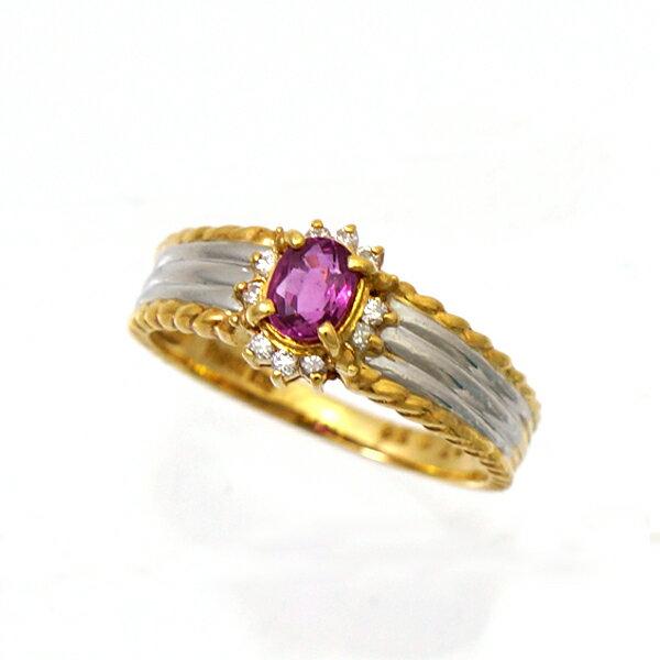 指輪 リング K18 Pt900 ルビー 0.36ct ダイヤモンド 0.07ct 11号 レディース ジュエリー [中古][送料無料]