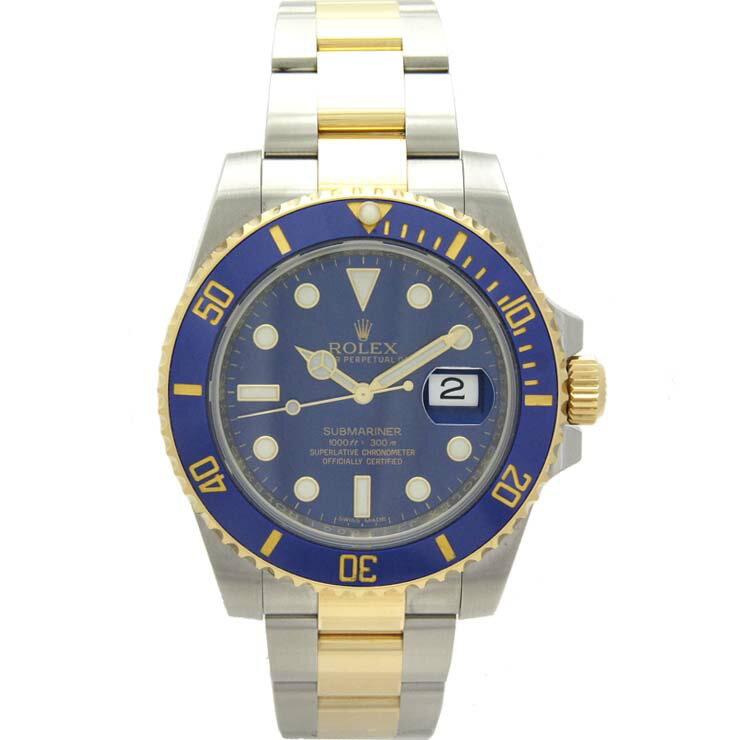ロレックス メンズ腕時計 サブマリーナ デイト 116613LB ランダムシリアル ROLEX SS×K18 自動巻き ブルー文字盤【中古】【送料無料】