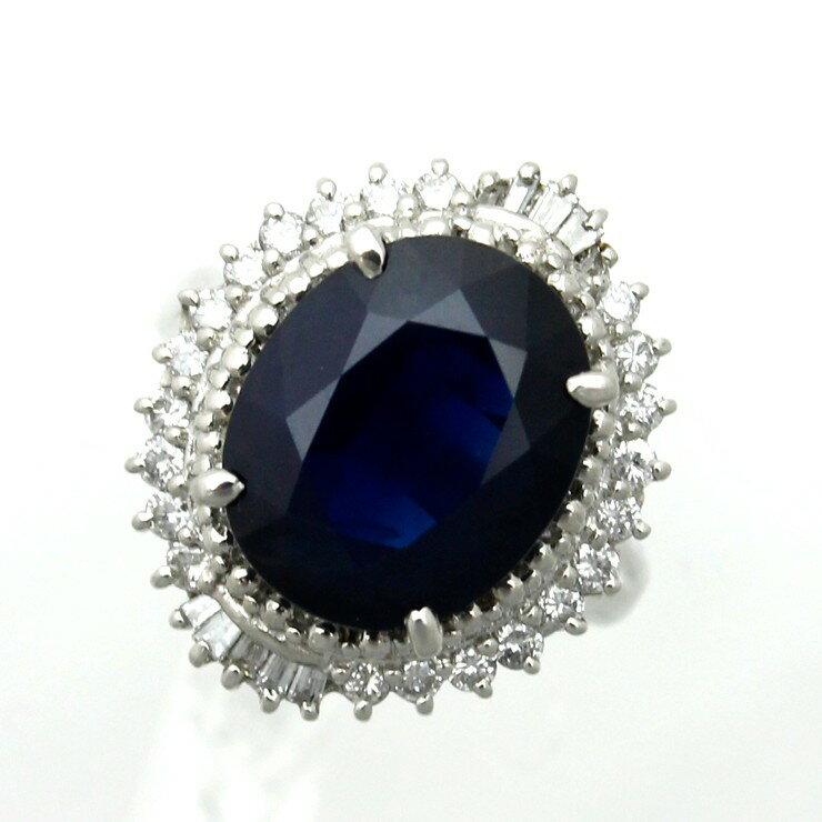 リング プラチナ900 サファイア ダイヤモンド Pt900 指輪 サイズ :  12.5号 ミニ鑑別書【中古】【送料無料】